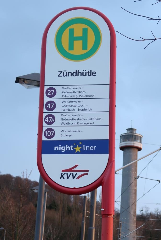 Bushaltestelle Zündhütle, der Bus 47A > 117 fährt bis Bahnhof Busenbach