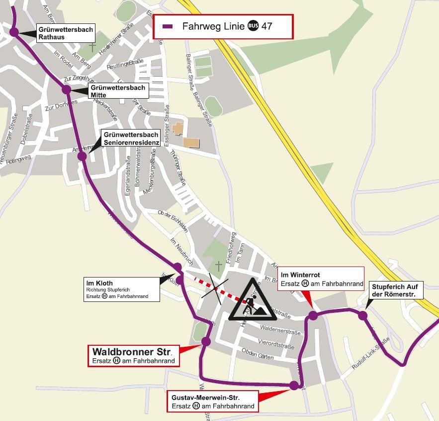 Planung des KVV zu den Buslinien-Umleitungen