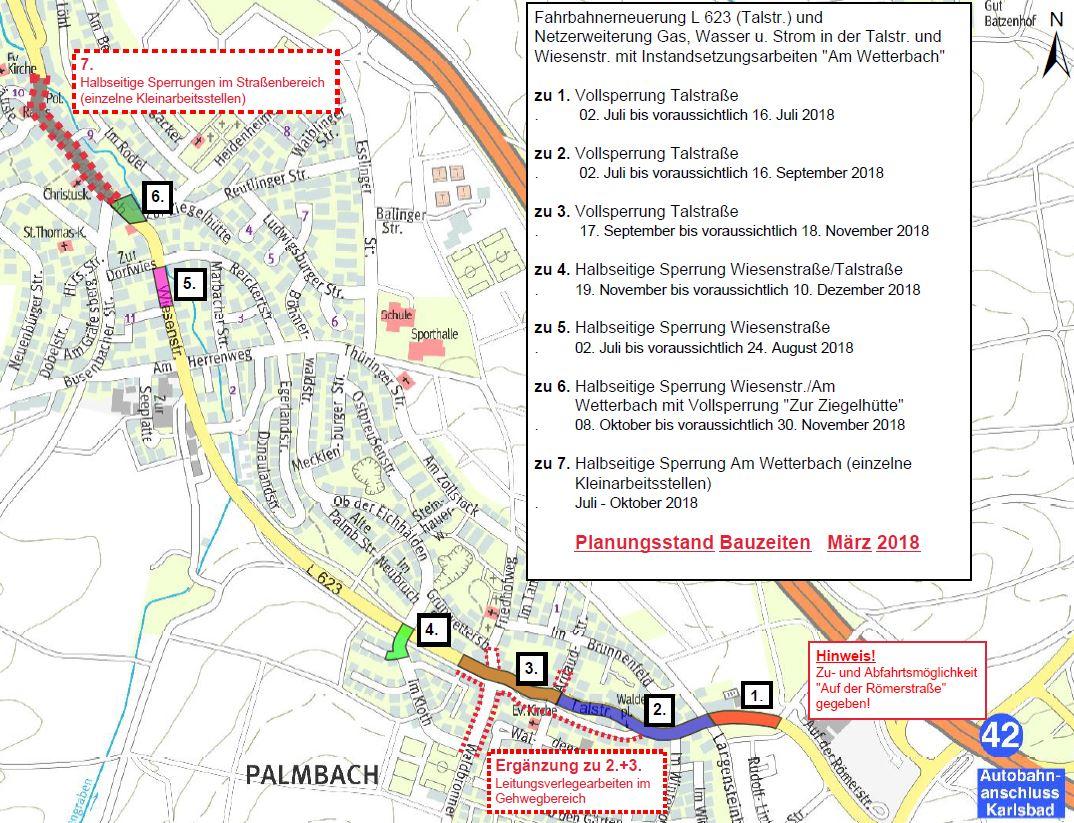 Baustelle Ortsdurchfahrt Palmbach - Bauabschnitte