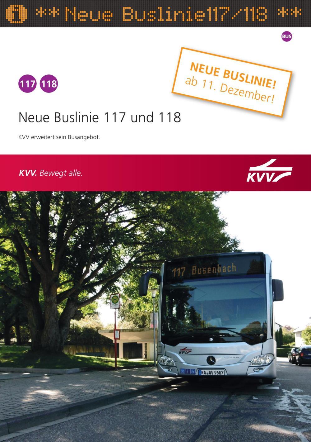 Neue Buslinie 117 und 118 Waldbronn - Karlsruhe - Karlsbad