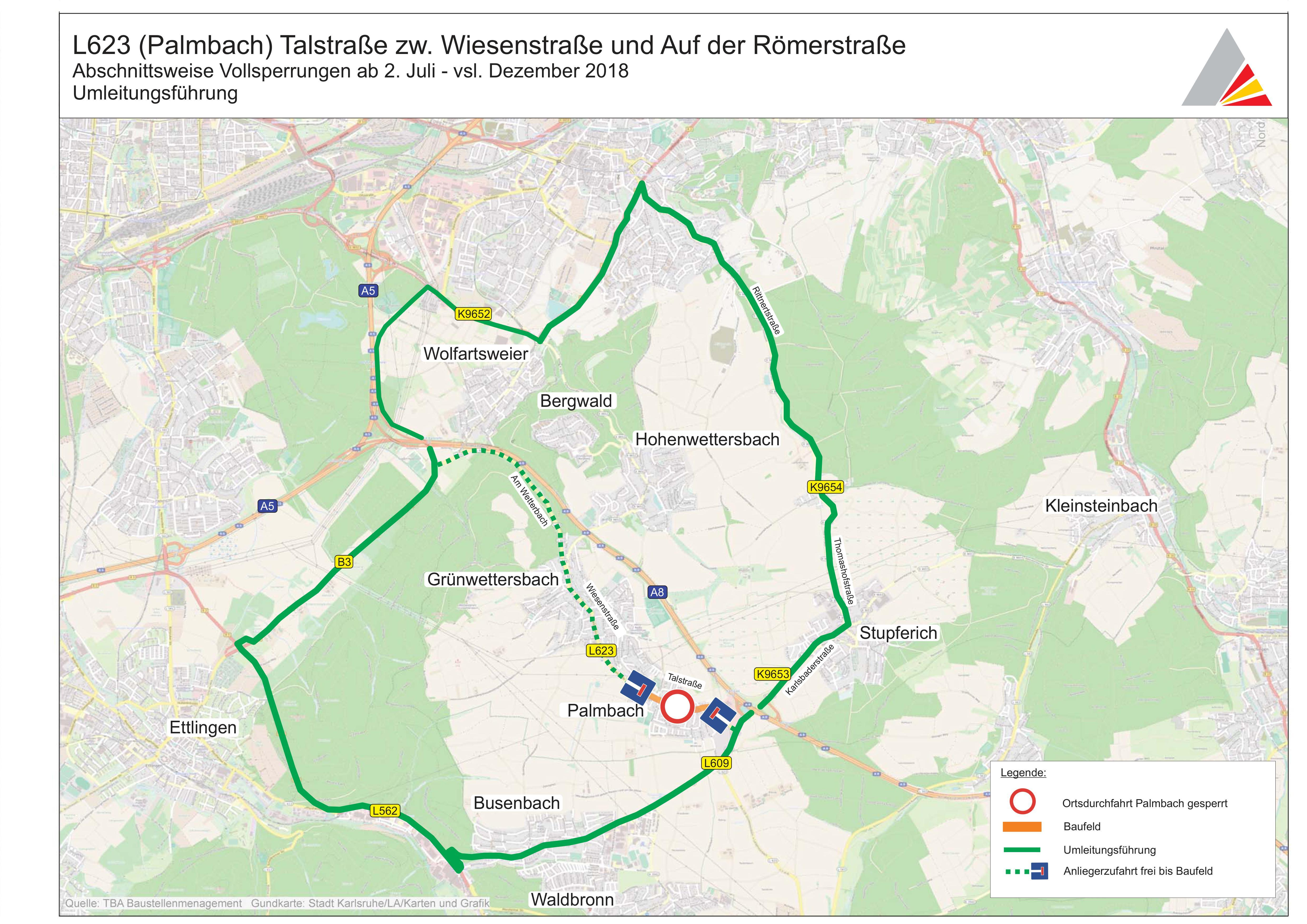 Überregionale Umleitung Karlsruhe - Palmbach