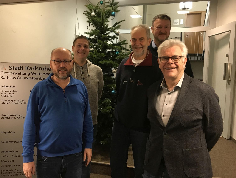 Roland Jourdan, Marcus Brenk, Otmar John, Paul Wirtz und Tilman Pfannkuch wünschen frohe Weihnachtsfeiertage 2019