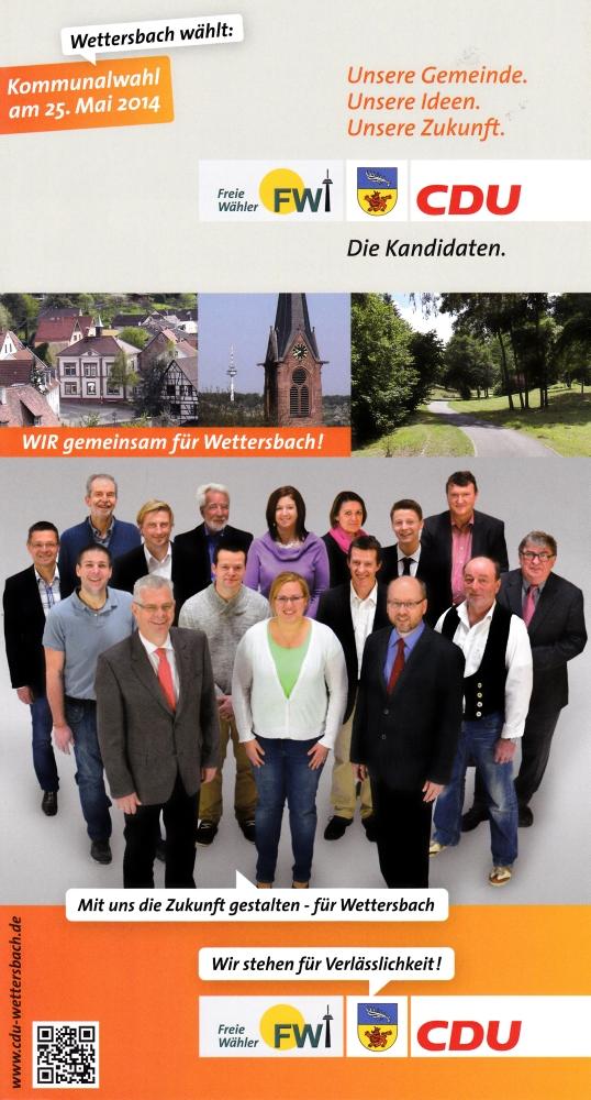 Kandidaten - Wahlprogramm: CDU/FW Wettersbach